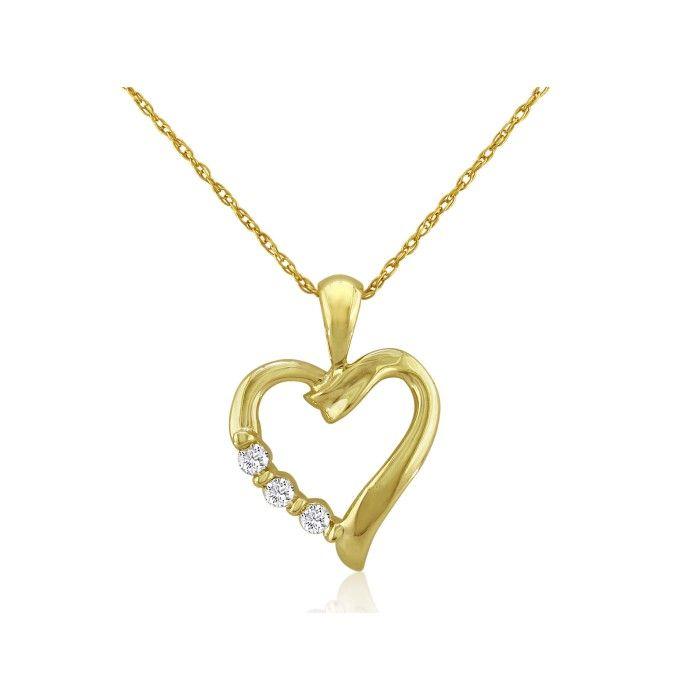 SuperJeweler .08ct Three Diamond Heart Pendant in 10k Yel...