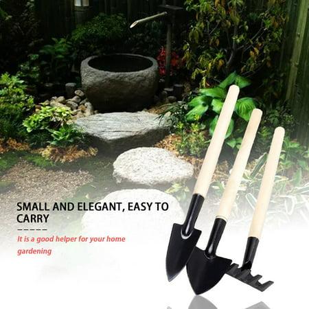 Long Handle Gardening Tools 3PCS/Set Wood Handle Metal Head Shovel Rake Spade - image 2 of 8