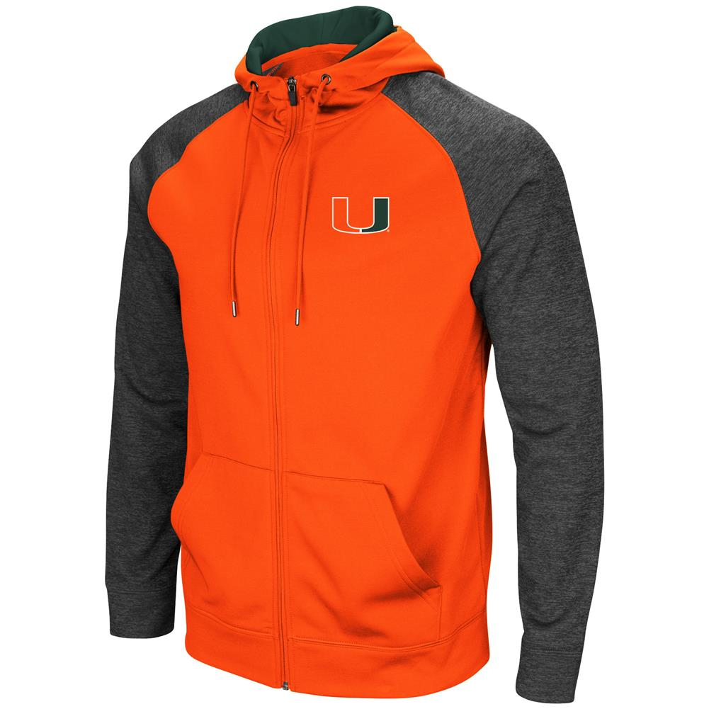 University of Miami Hurricanes Men's Full ZipHoodie Fleece Jacket by Colosseum