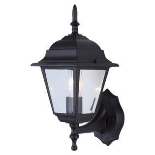 Outdoor exterior wall mount light fixture porch patio uplight black for Exterior wall mounted light fixtures commercial