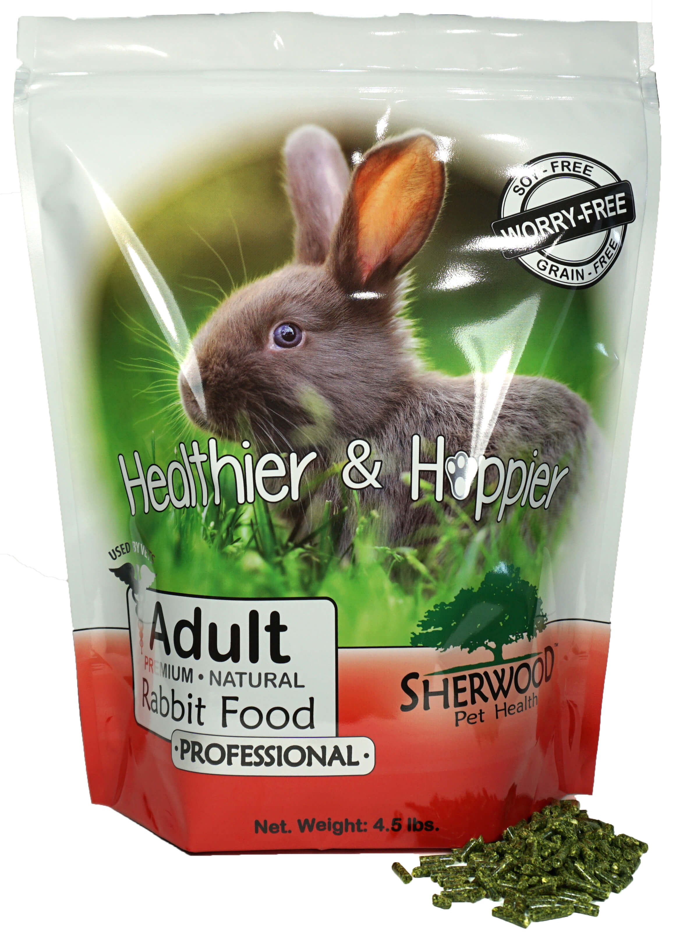 Rabbit Food, Adult by Sherwood Pet Health, PROFESSIONAL (4.5 lb) (Vet used & recommended) by Sherwood Pet Health