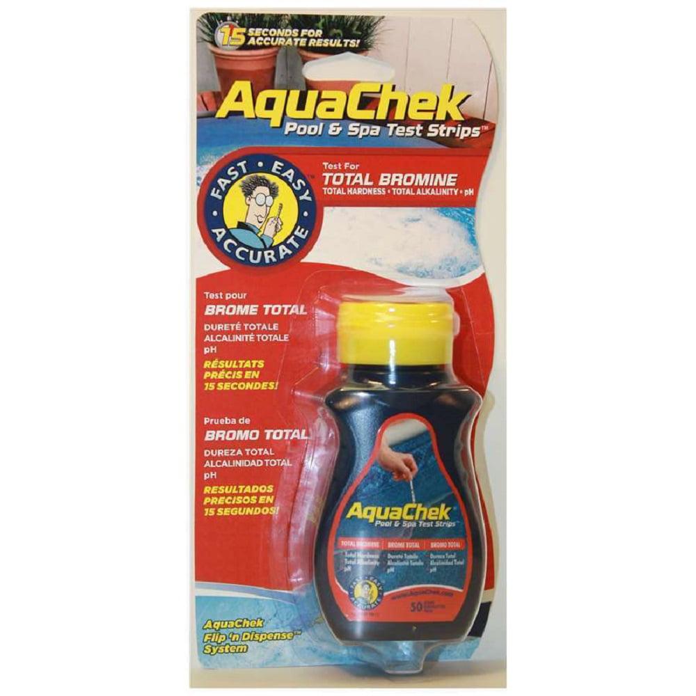 AQUACHEK Red Swimming Pool Spa Test Kit Strips Bromine pH Alkalinity 50 pack