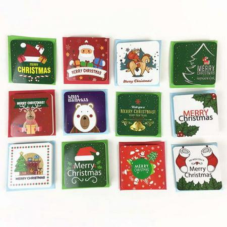 AkoaDa 24pcs Creative Merry Christmas Small Greeting Cards Kids Mini Christmas Greeting Cards New Year Postcard Gift Card ()