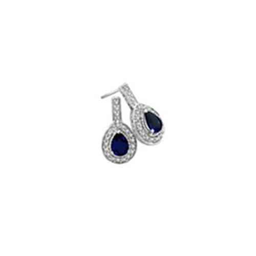 SuperJeweler H010617-S 14W GHSI3SC 2. 75Ct Sapphire And Diamond Earrings In 14K White Gold