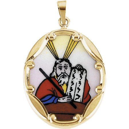 Bella Grace Jewelry Collection 14K Yellow 13x10mm Moses Hand-Painted Porcelain Medal