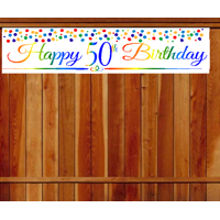 Item#050RPB Happy 50th Birthday Rainbow Wall Decoration Indoor / OutDoor Party Banner (10 x 50inches)