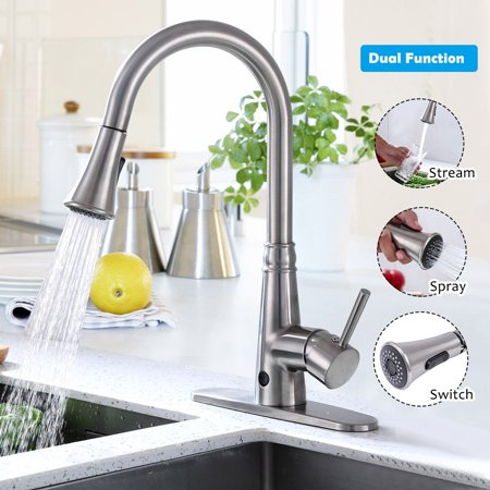 Nickel Clayton Single (Costway Motion Sense Touchless Kitchen Faucet Pull-Down Single Handle Brushed)