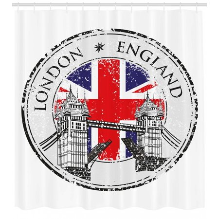 British Shower Curtain London England Grunge Stamp With Flag Nostalgic National Graphic Fabric Bathroom Set Hooks Scarlet Navy Blue Pale Grey