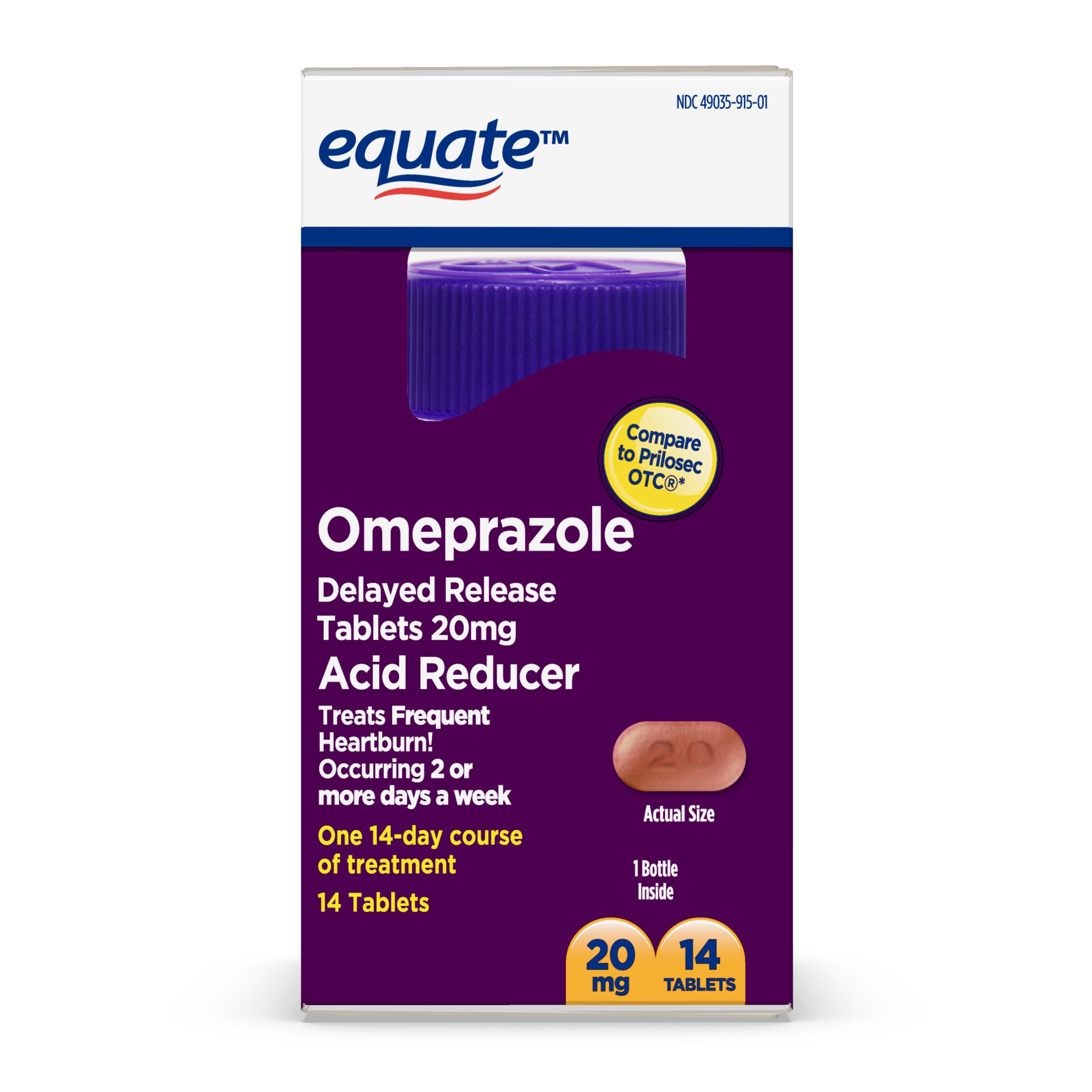 Equate Acid Reducer Omeprazole Delayed Release Tablets 20 mg, 14 Ct