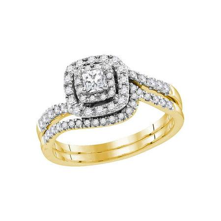 14kt Yellow Gold Womens Princess Diamond Bridal Wedding Engagement Ring Band Set 1/2 Cttw - image 1 de 1