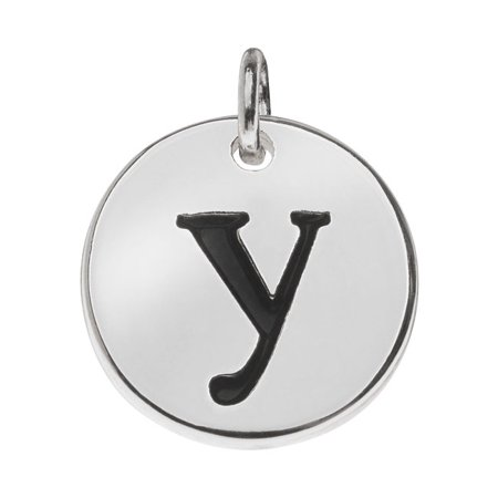 Lead-Free Pewter, Round Alphabet Charm Lowercase Letter 'y' 13mm, 1 Piece, Silver Plated