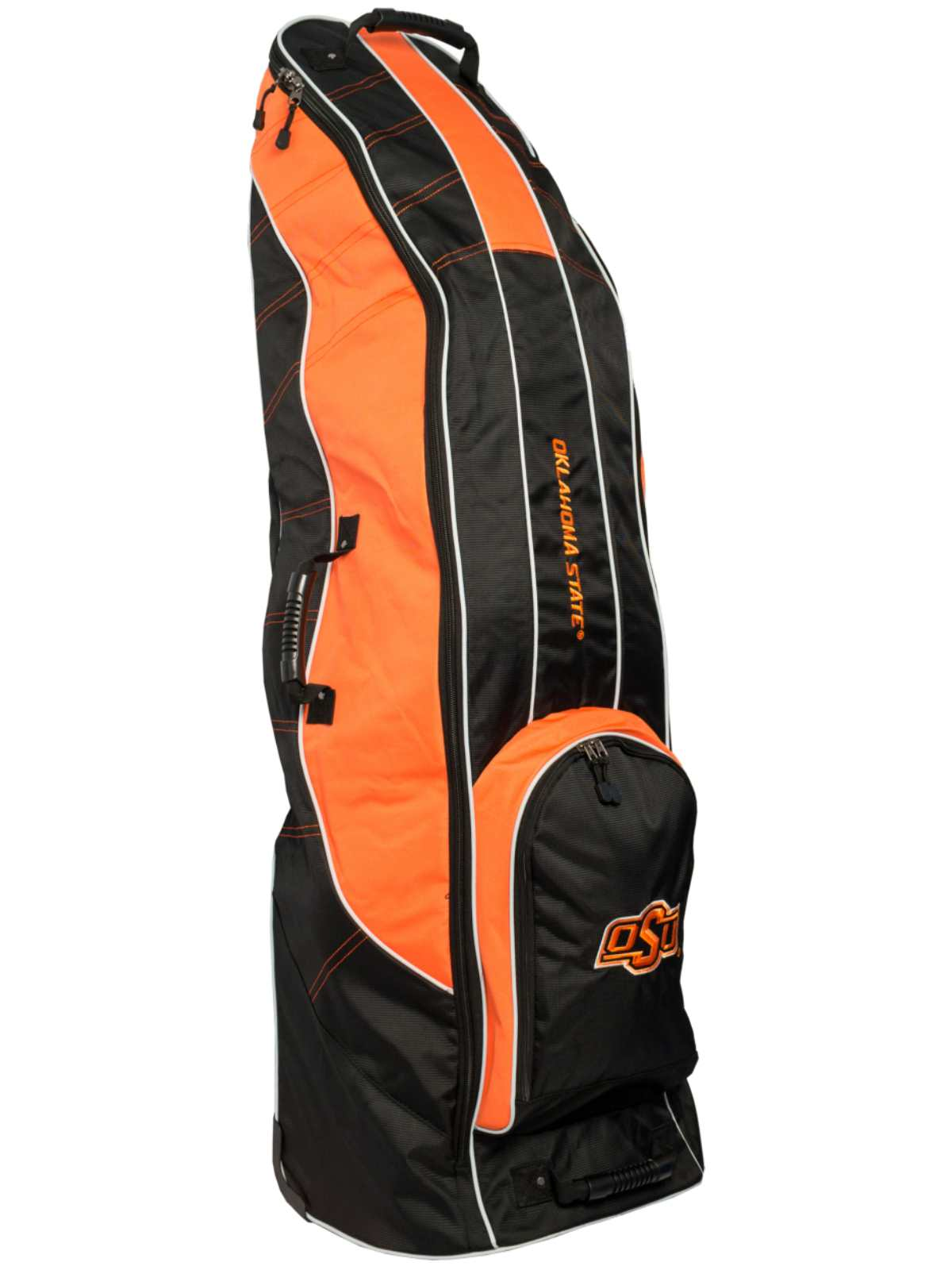 Click here to buy Oklahoma State Cowboys Team Golf Black Golf Clubs Wheeled Luggage Travel Bag.