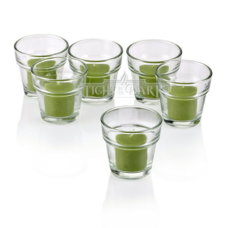 Clear Glass Flower Pot Votive Candle Holders With Lime Green Votive Candles Burn 10 Hours Set Of (Votive Pot)