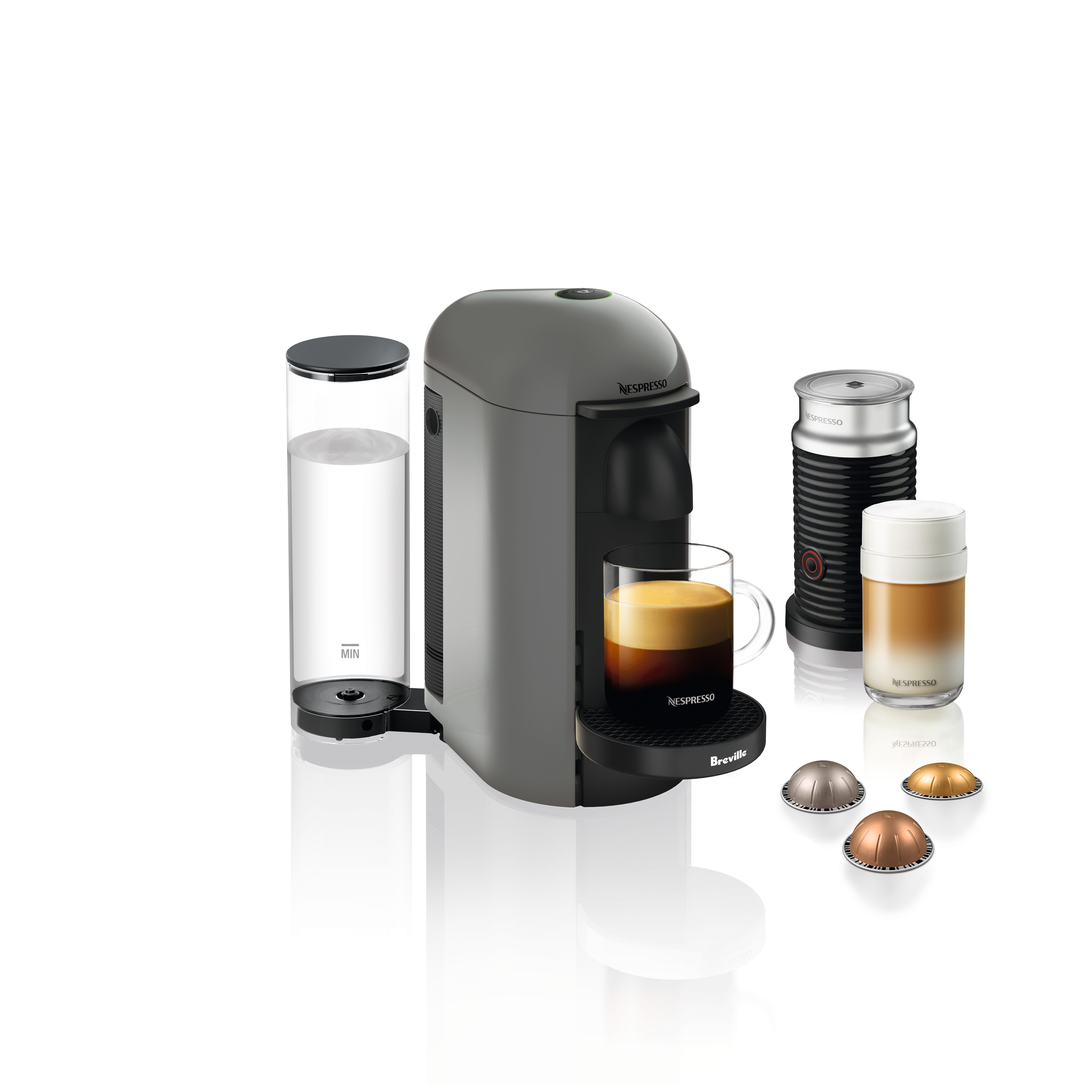 Nespresso VertuoPlus Coffee and Espresso Maker by Breville with Aeroccino Milk Frother, Grey