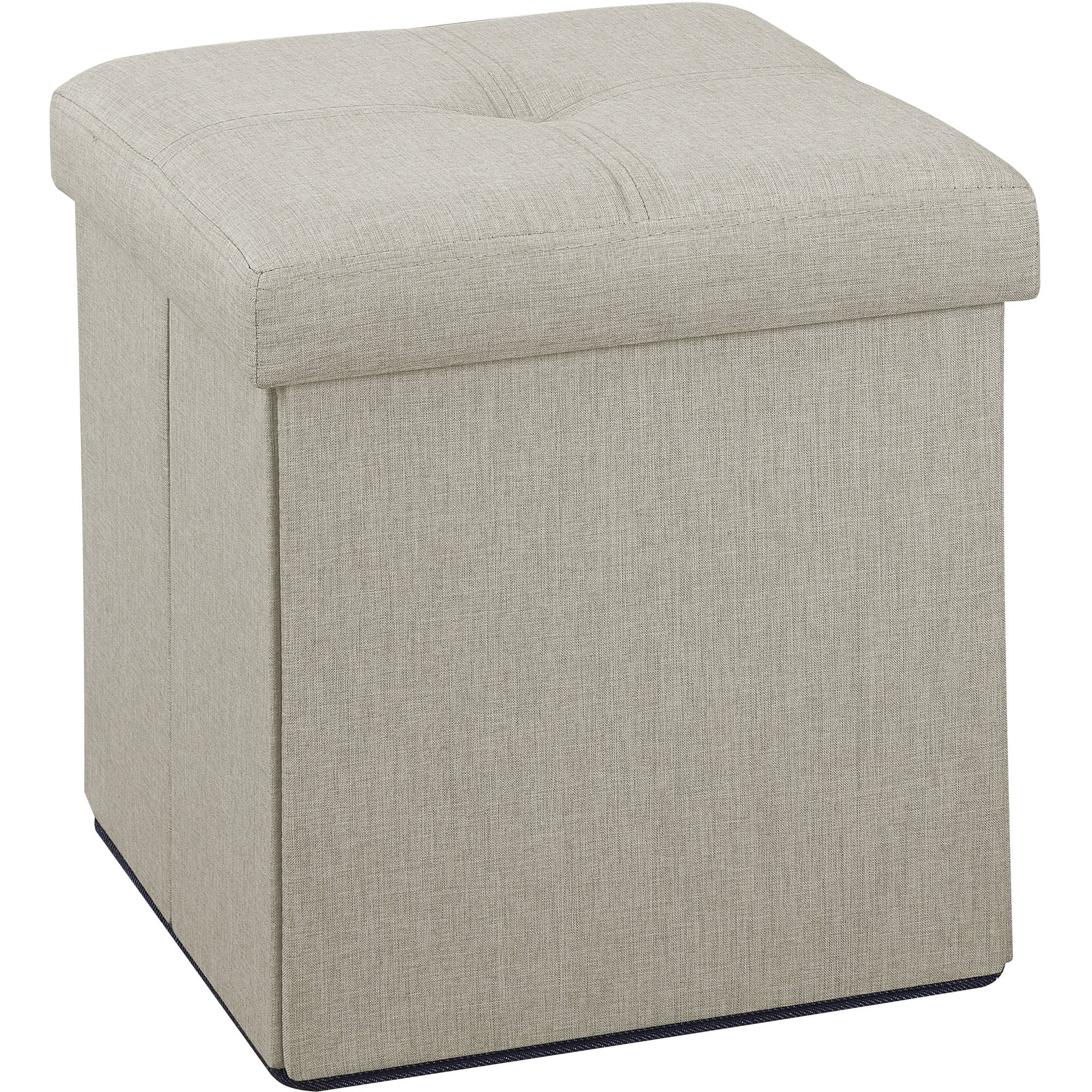 Simplify Faux Linen Folding Storage Ottoman