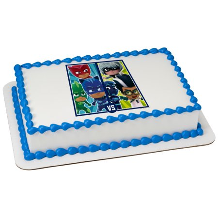 PJ Masks Versus 2 Round Cupcake Sheet Image Cake Topper Edible Birthday Party