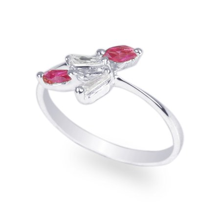 Womens 925 Sterling Silver Red Marquise CZ Pretty Ring Size 4-8 - Cheap Pretty Rings