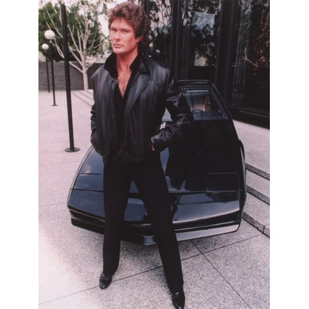 David Hasselhoff standing in Black Leather Jacket with Black Pants and Black Shoes Print Wall Art By Movie Star (Best Shoes To Wear Standing All Day At Work)