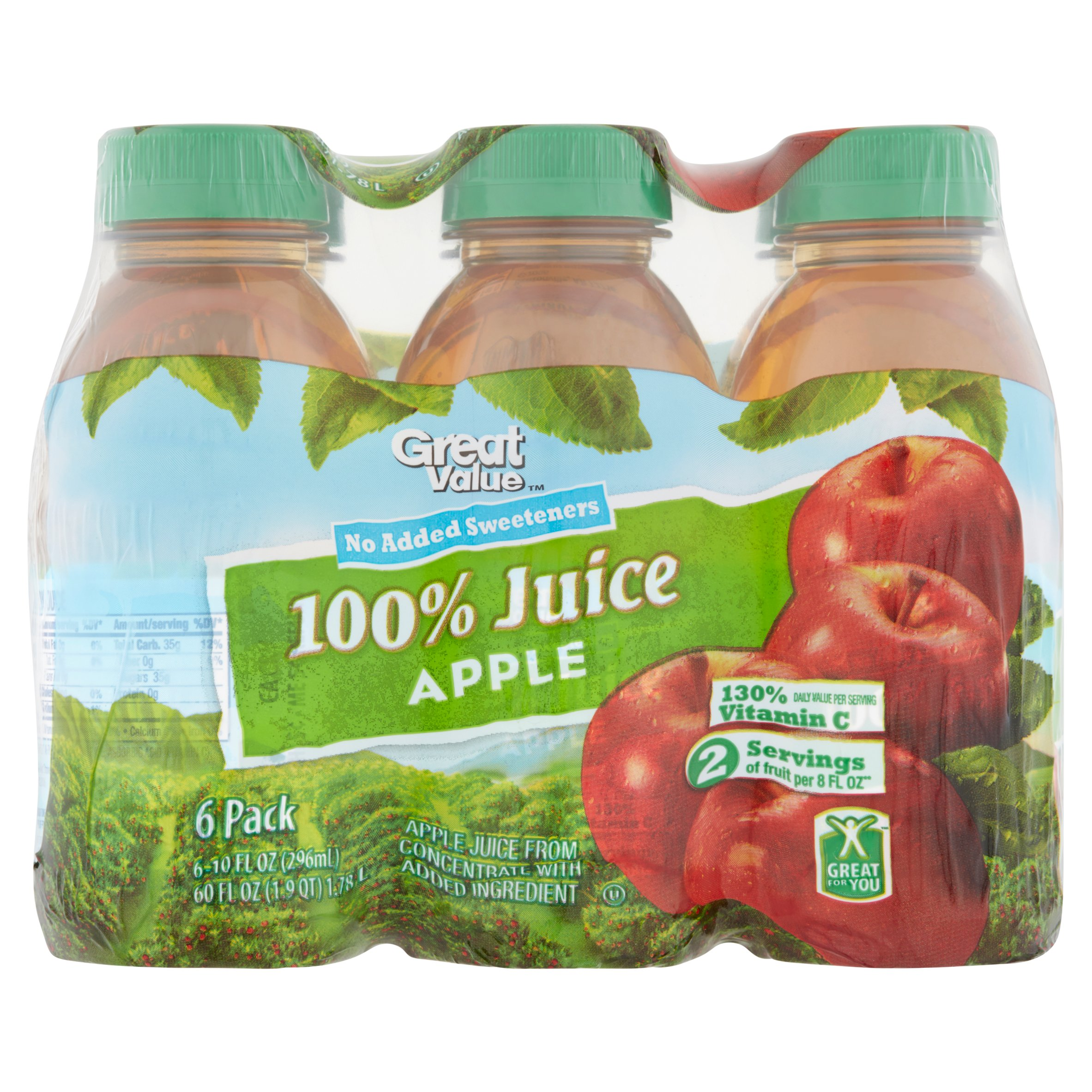 Great Value 100% Apple Juice, 6 Ct 60 Oz by Wal-Mart Stores, Inc.