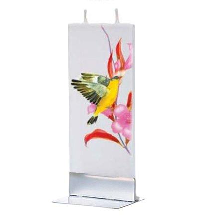 Flatyz Handmade Twin Wick Thin Flat Candle - American Finch with Flower