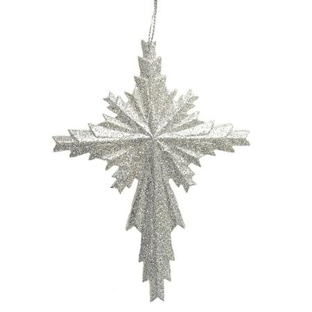 Silver Glitter Cross Christmas Ornament