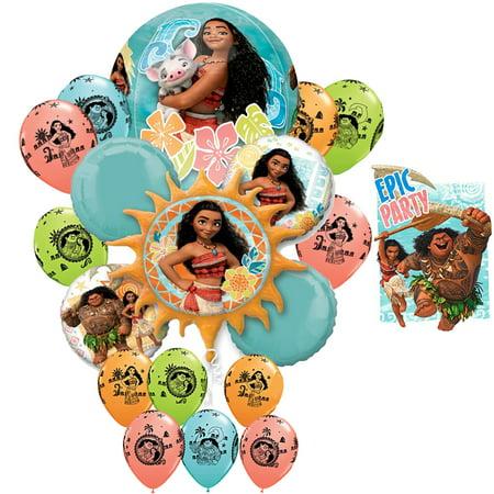 Disney Moana Maui Birthday Girl Epic Party Birthday 18 Balloon Bouquet & 16 Birthday Party Invitations