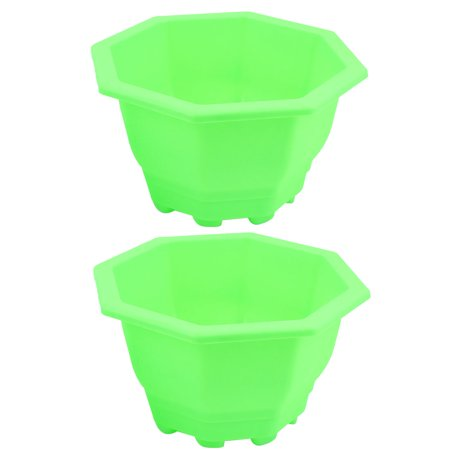 Unique Bargains Plastic Octagon Shaped Home Garden Window Decor Plant Flower Pot Green 2pcs