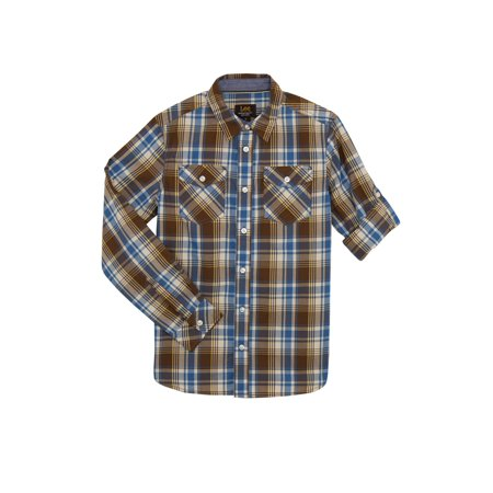 Lee Long Sleeve Plaid Button Up Shirt (Big Boys) Boys Long Sleeve Plaid Shirt