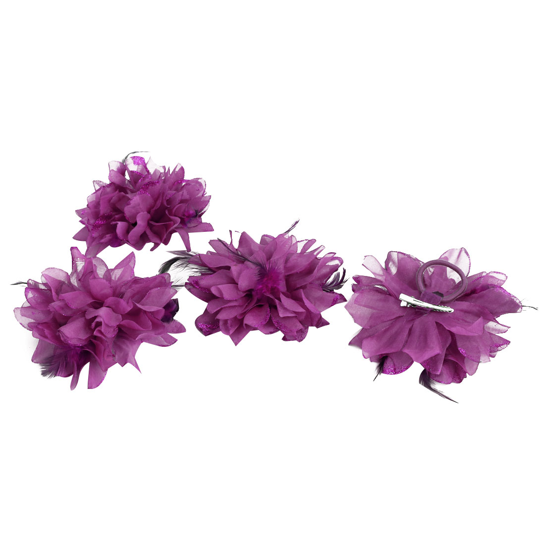 Wedding Fascinator Bridesmaid Hand Hair Decoration Wrist Flower Fuchsia 4 Pcs - image 4 of 4