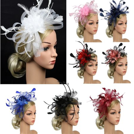 Fashion Womens Hair Accessory Clip Feather Mesh Wedding Bridal Party Fascinator Hat (Top Hat Fascinators)