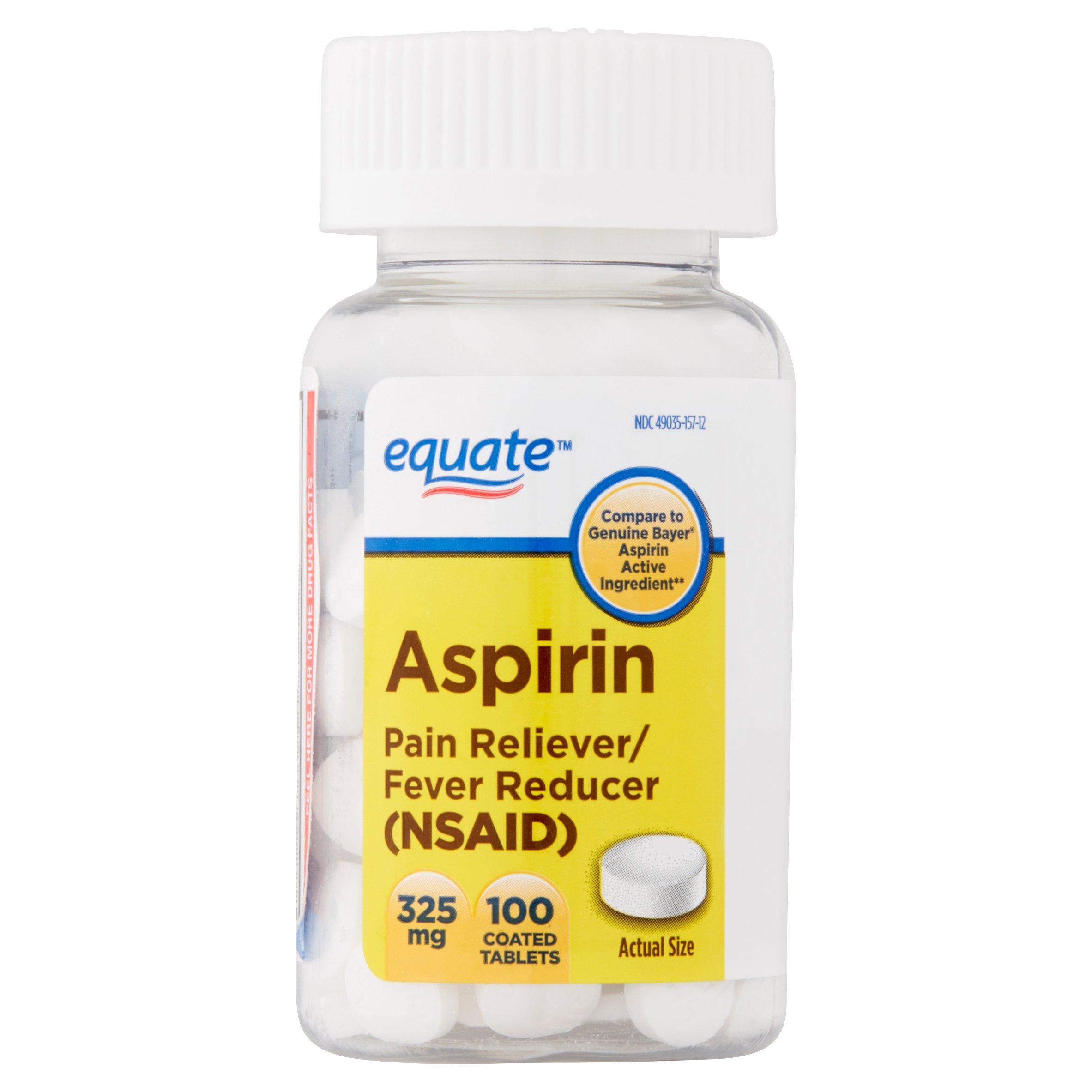 Equate Aspirin Coated Tablets, 325 mg, 100 count - Walmart.com