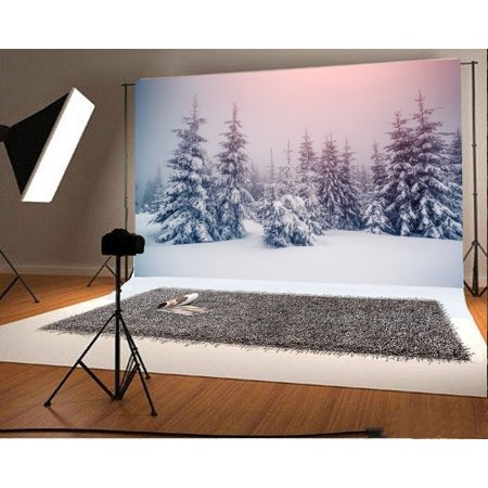 GreenDecor Polyster 7x5ft Photography Backdrop Christmas Pine Tree Forest Snow Covered Landscape Nature Winter Xmas Background Kids Children Adults Photo Studio - Winter Photo Props