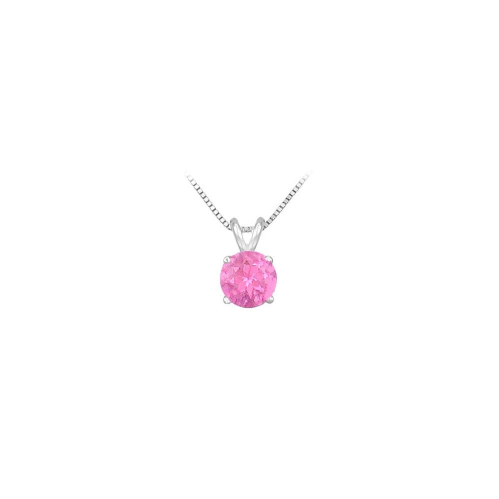 14K White Gold Prong Set Created Pink Sapphire Solitaire Pendant 0.75 CT TGW - image 2 de 2