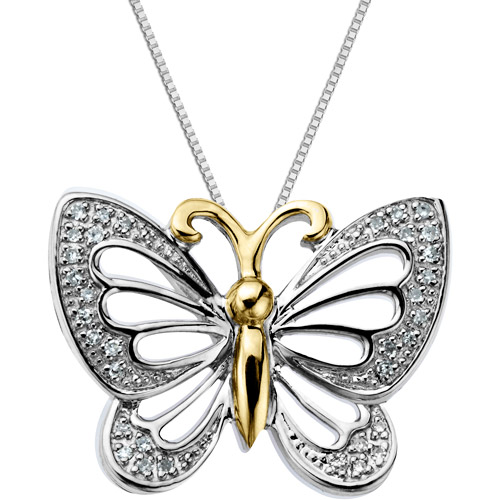 Duet Diamond Accent 10kt Yellow Gold and Sterling Silver Butterfly Pendant, 18""