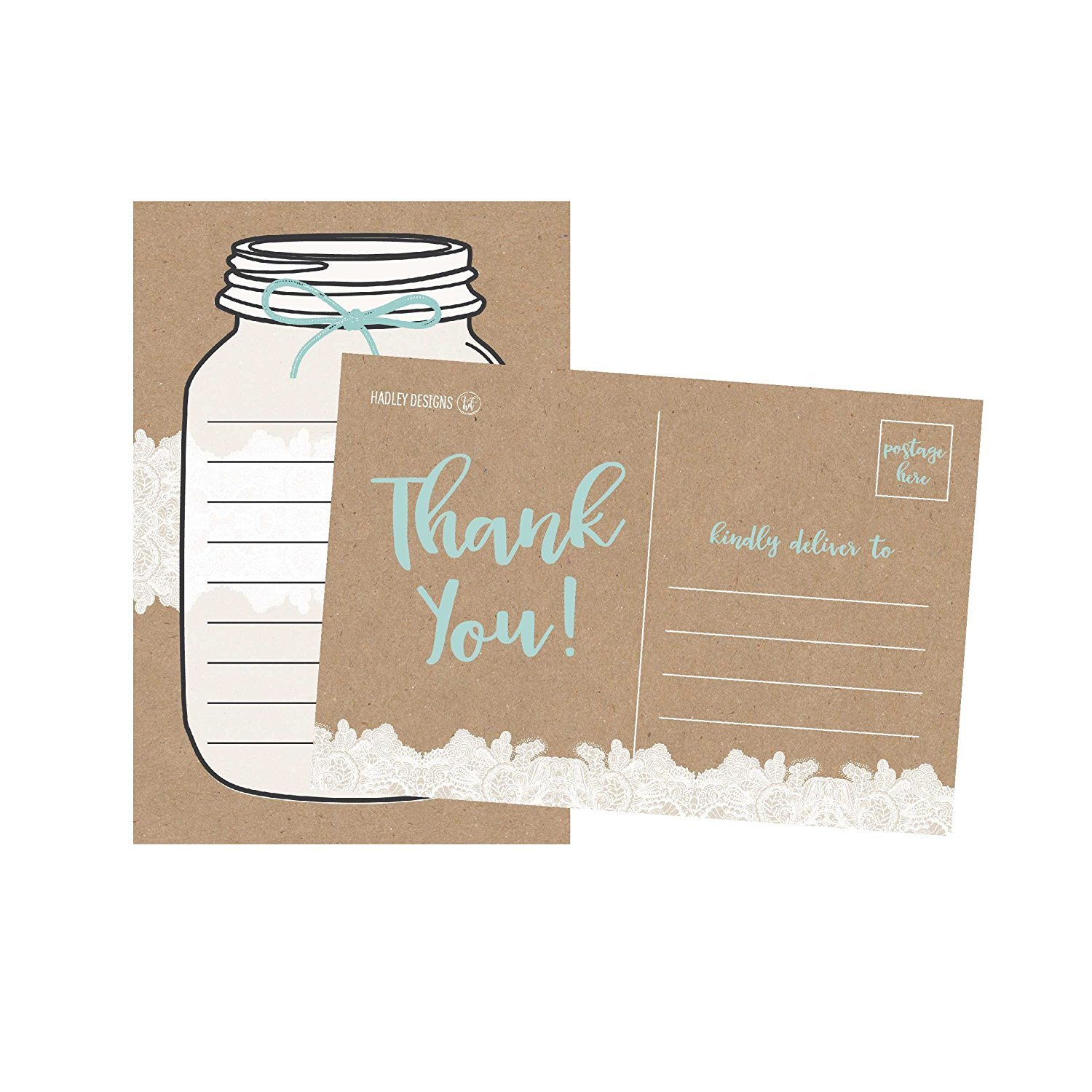 50 4x6 Rustic Blank Thank You Postcards Bulk, Cute Kraft Modern Blank Thank You Note Card Stationery For Wedding Bridesmaid Bridal or Baby Shower, Teachers, Appreciation, Religious, Business, Holiday