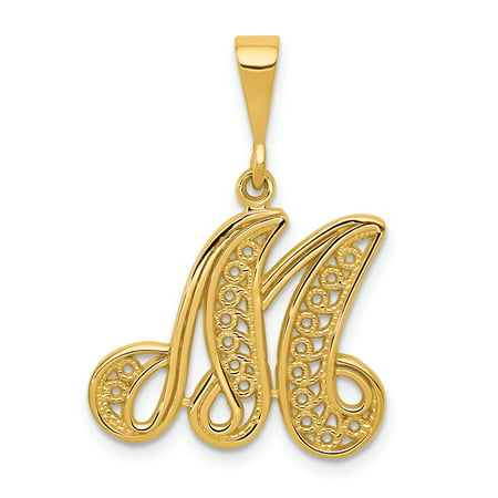 Gold Contemporary Heart - 14kt Yellow Gold Initial Monogram Name Letter M Pendant Charm Necklace Fine Jewelry Ideal Gifts For Women Gift Set From Heart