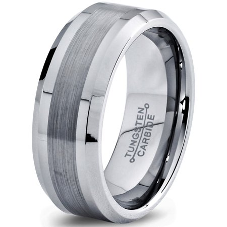 8mm Silver Gray Grey Beveled Edge Brushed Polished Classic Tungsten Carbide Wedding Band Ring for Men Women Comfort Fit Engagement Anniversary Classic Comfort Fit Wedding Band