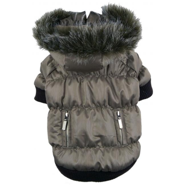 Grey Metallic Fashion Parka with Removable Hood-XS