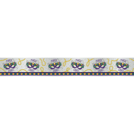 Foil Jazzy Mardi Gras Banner, 12 ft, 1ct for $<!---->