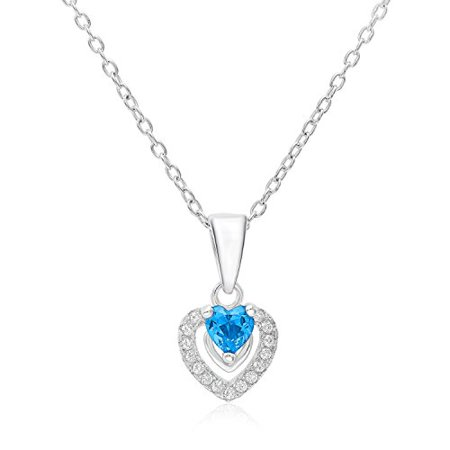 Halo Heart Pendant in Sterling Silver with December Simulated Blue Topaz Birthstone & CZ (18 Inches) (December Heart)