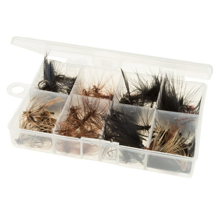 Fly Fishing Lures- 50 Piece Natural Assorted Dry Insect Flies, Fishing Equipment for Catch and Release in Organizer Tool Box by Wakeman (Stimulator Dry Fly)