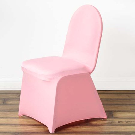 Stretchy Spandex Fitted Banquet Chair Cover, Rose Quartz (Sterling Silver Crimp Covers)