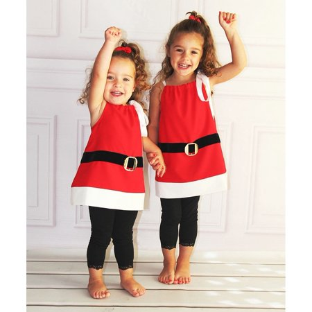 Christmas Costumes For Girls (Christmas Toddler Girls Kids Santa Claus Strap Tops Party Dress Costume)