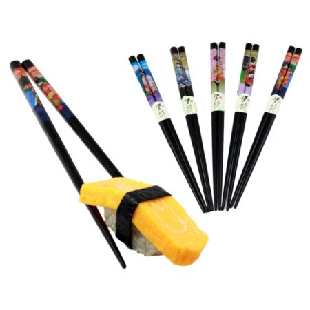 Ebros Gift Reusable Black Lacquered Traditional Japanese Geishas Set of 5 Chopsticks Set Asian Dining Dinnerware Accessory