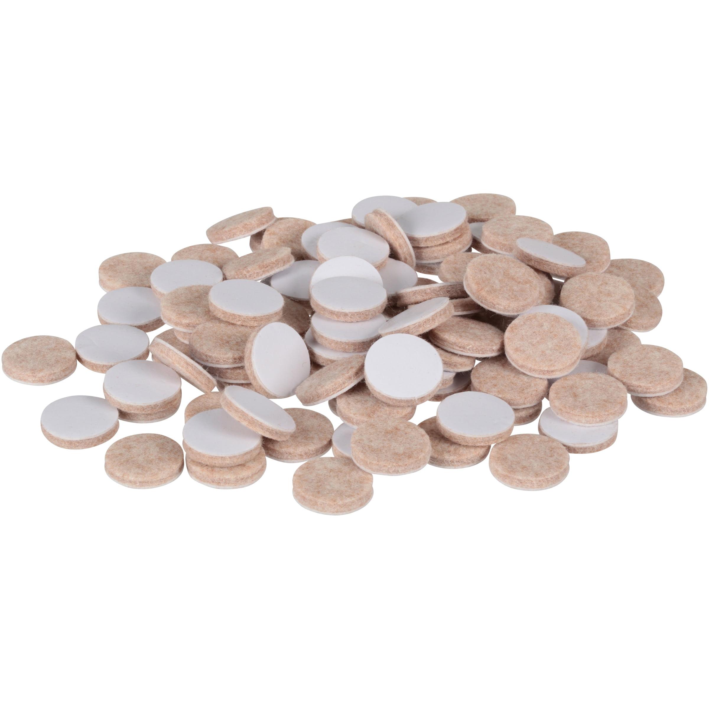 "Slipstick 1"" Round Premium Self-Stick Felt Pads Value Bag of 100 Pieces, Oatmeal"