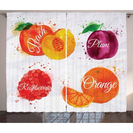Fruit Curtains 2 Panels Set, Watercolor Grunge Background with Paint Splashes Peach Raspberry Plum and Orange, Window Drapes for Living Room Bedroom, 108W X 63L Inches, Multicolor, by (Pulmonaria Raspberry Splash)