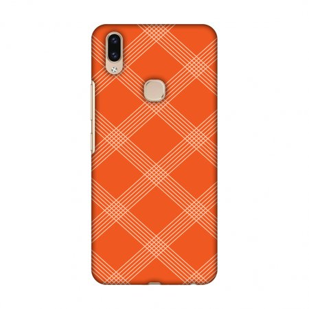 Carbon Star Snap - Vivo V9 Case - Carbon Fibre Redux Tangy Orange 5, Hard Plastic Back Cover, Slim Profile Cute Printed Designer Snap on Case with Screen Cleaning Kit