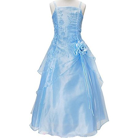 BNY Corner Triple Layered Organza Dress for Big Girl Blue 10 HC1110C - Dress For Girl