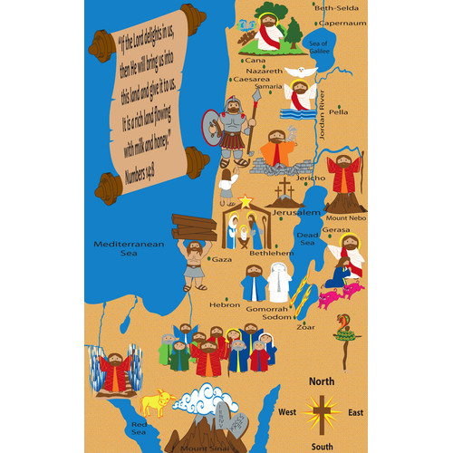 Kid Carpet Holy Land Map Sunday School Area Rug