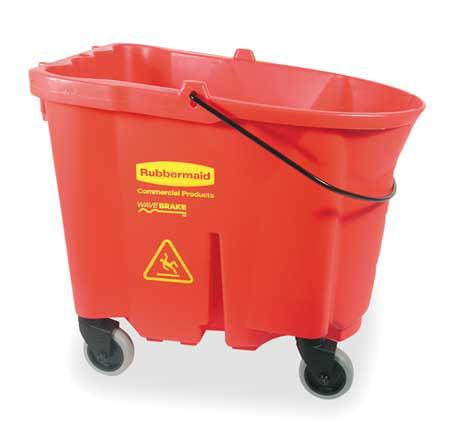 RUBBERMAID WaveBrake Mop Bucket, 35 Quart, Red FG757088RED